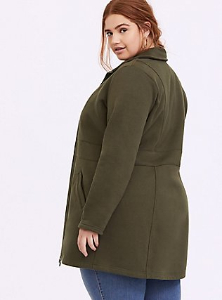 Olive Green Fleece Dual Zip Jacket, DEEP DEPTHS, alternate