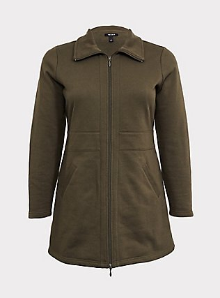 Olive Green Fleece Dual Zip Jacket, DEEP DEPTHS, flat