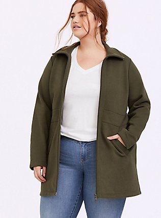 Plus Size Olive Green Fleece Dual Zip Jacket, DEEP DEPTHS, hi-res