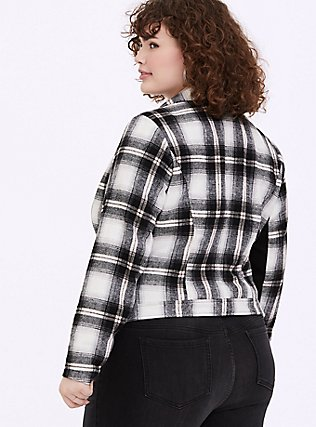 White & Black Plaid Flannel Woolen Moto Jacket, PLAID, alternate