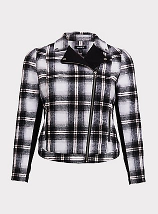 White & Black Plaid Flannel Woolen Moto Jacket, PLAID, flat