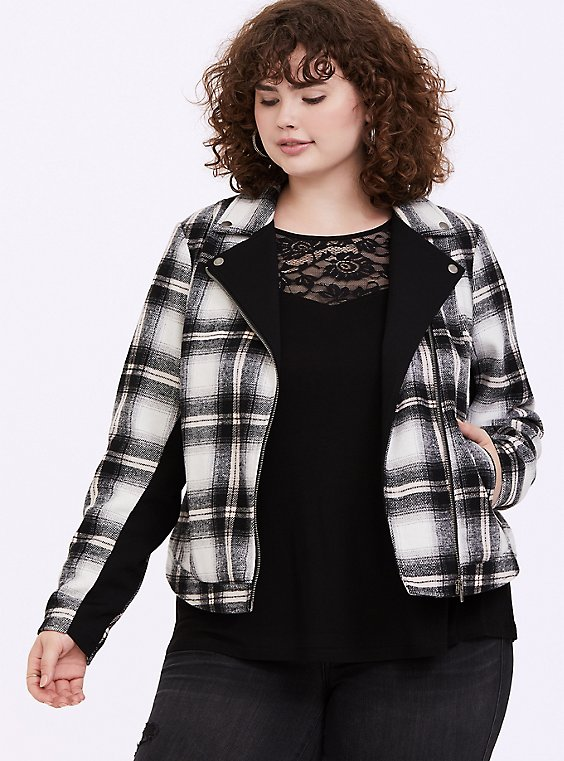 White & Black Plaid Flannel Woolen Moto Jacket, , hi-res