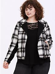 White & Black Plaid Flannel Woolen Moto Jacket, PLAID, hi-res