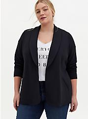 Black Knit Tie Front Jacket, DEEP BLACK, alternate
