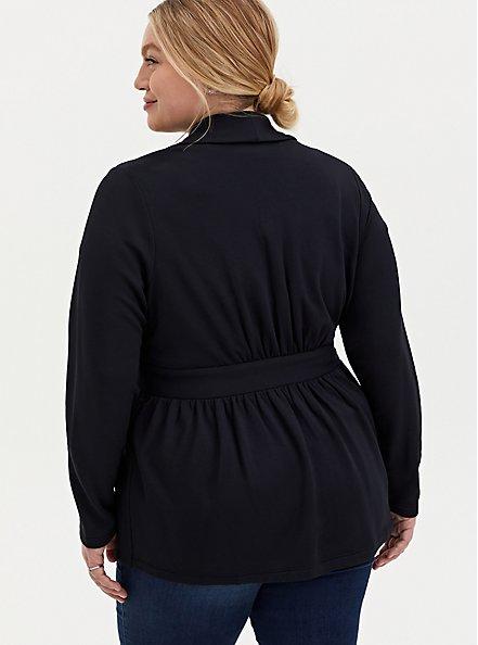 Black Knit Tie Front Blazer, DEEP BLACK, alternate