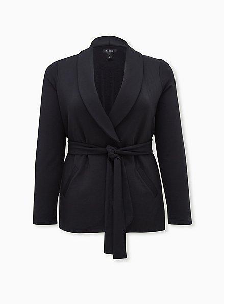 Black Knit Tie Front Blazer, DEEP BLACK, hi-res