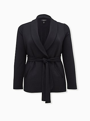 Black Self-Tie Blazer, DEEP BLACK, flat