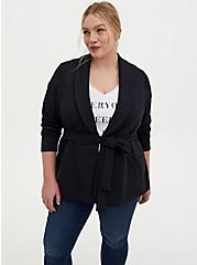 Black Knit Tie Front Jacket, DEEP BLACK, hi-res