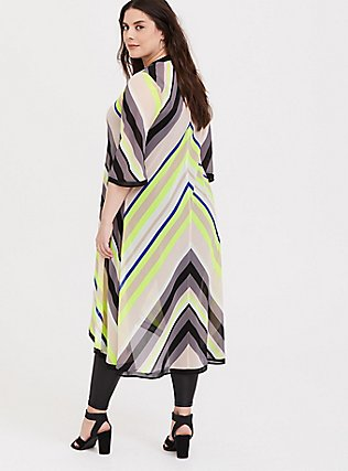 Neon Yellow Multi Chevron Chiffon Duster Kimono, WINDSWEPT FLORA, alternate