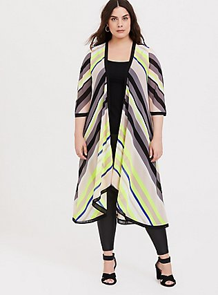 Plus Size Neon Yellow Multi Chevron Chiffon Duster Kimono, WINDSWEPT FLORA, hi-res