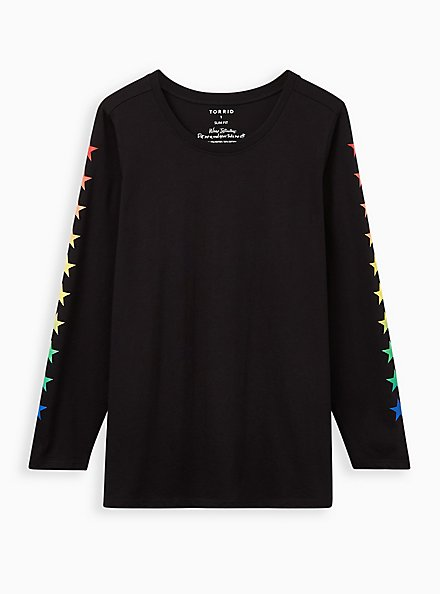 Black & Rainbow Star Long Sleeve Crew Tee, DEEP BLACK, hi-res
