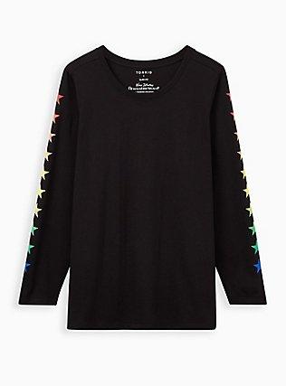 Plus Size Black & Rainbow Star Long Sleeve Crew Tee, DEEP BLACK, flat