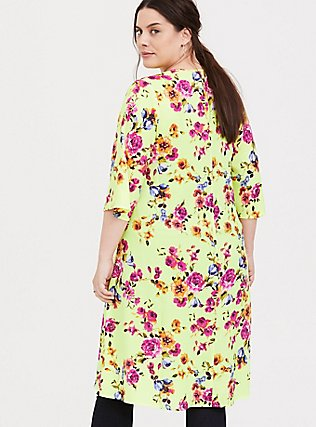 Neon Yellow Floral Crepe Kimono, SUMMER IT UP FLORAL, alternate