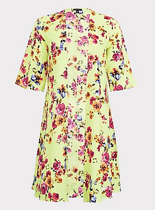Neon Yellow Floral Crepe Kimono, SUMMER IT UP FLORAL, flat