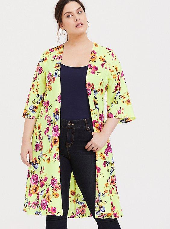 Plus Size Neon Yellow Floral Crepe Kimono, , hi-res