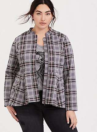 Grey Plaid Peplum Hi-Lo Jacket, PLAID, alternate