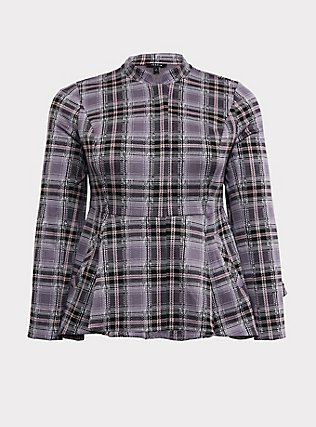 Grey Plaid Peplum Hi-Lo Jacket, PLAID, flat