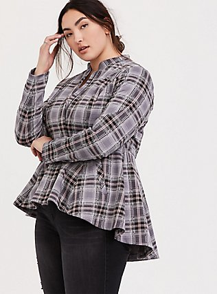 Grey Plaid Peplum Hi-Lo Jacket, PLAID, hi-res