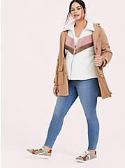 White & Pink Chevron Faux Sherpa Teddy Jacket, CLOUD DANCER, alternate
