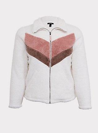 White & Pink Chevron Faux Sherpa Teddy Jacket, CLOUD DANCER, flat