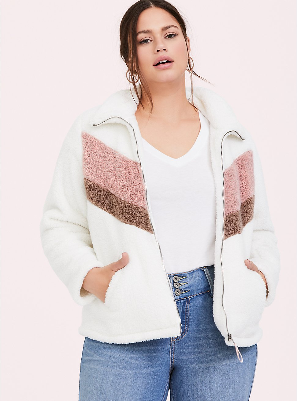 White & Pink Chevron Faux Sherpa Teddy Jacket, CLOUD DANCER, hi-res