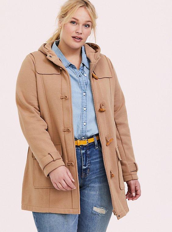 Plus Size Camel Duffle Toggle Coat, , hi-res