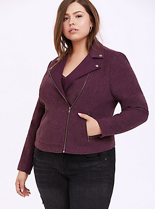 Dark Purple Flannel Moto Jacket, EGGPLANT, alternate