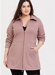 Plus Size Walnut Fleece Dual Zip Jacket, DEEP DEPTHS, alternate