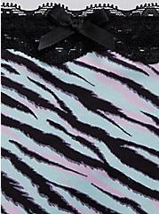 Plus Size Light Blue Zebra Microfiber Lattice Hipster Panty, LIGHT BLUE, alternate