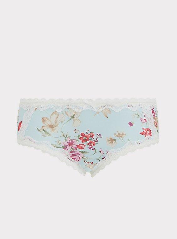 Plus Size Aqua Floral Microfiber Lattice Hipster Panty, , flat