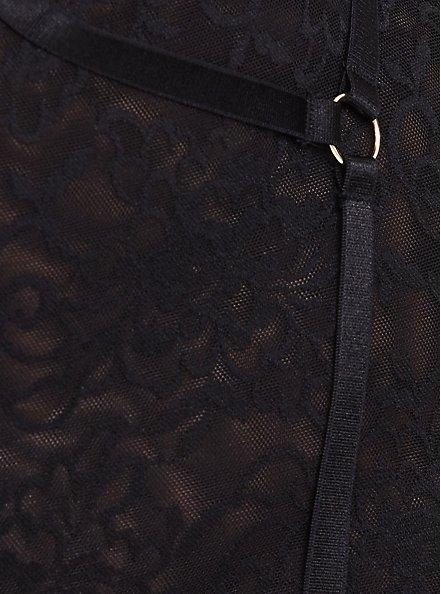 Black Lace Harness High Waist Panty, RICH BLACK, alternate