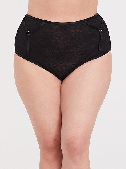 Black Lace Harness High Waist Panty, RICH BLACK, hi-res