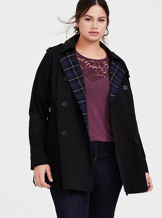 Black Twill & Plaid Lined Trench Coat, , hi-res