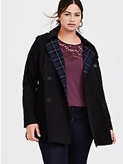 Black Twill & Plaid Lined Trench Coat, DEEP BLACK, hi-res