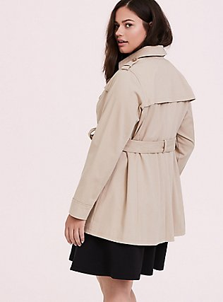 Tan Twill & Plaid Lined Trench Coat, IVORY, alternate