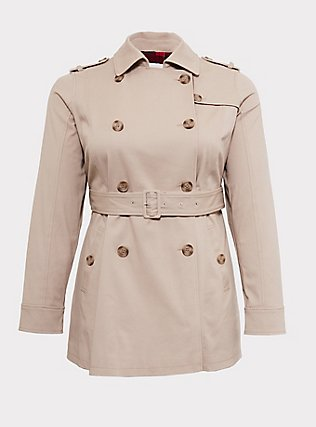 Tan Twill & Plaid Lined Trench Coat, IVORY, flat