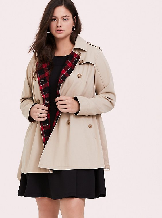 Tan Twill & Plaid Lined Trench Coat, IVORY, hi-res