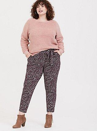 Purple Leopard Crepe Self Tie Tapered Pant, LEOPARD - PURPLE, alternate