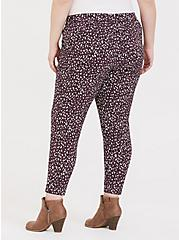 Purple Leopard Crepe Self Tie Tapered Pant, LEOPARD - PURPLE, alternate