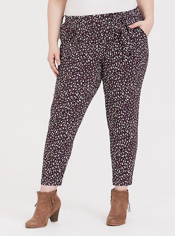 Purple Leopard Crepe Self Tie Tapered Pant, LEOPARD - PURPLE, hi-res