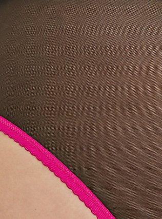 Hot Pink & Black Mesh Lattice Hipster Panty, RICH BLACK, alternate