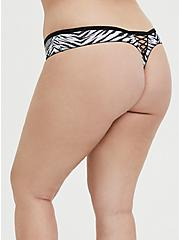 Plus Size Light Blue Zebra Microfiber Lattice Thong Panty, , hi-res