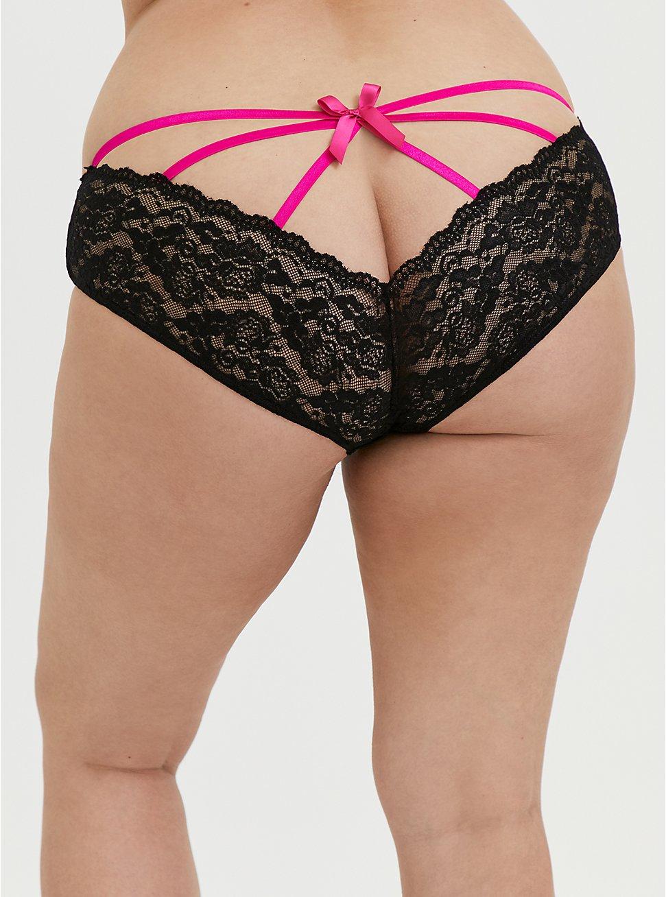 Hot Pink & Black Lace Caged Hipster Panty, RICH BLACK, hi-res