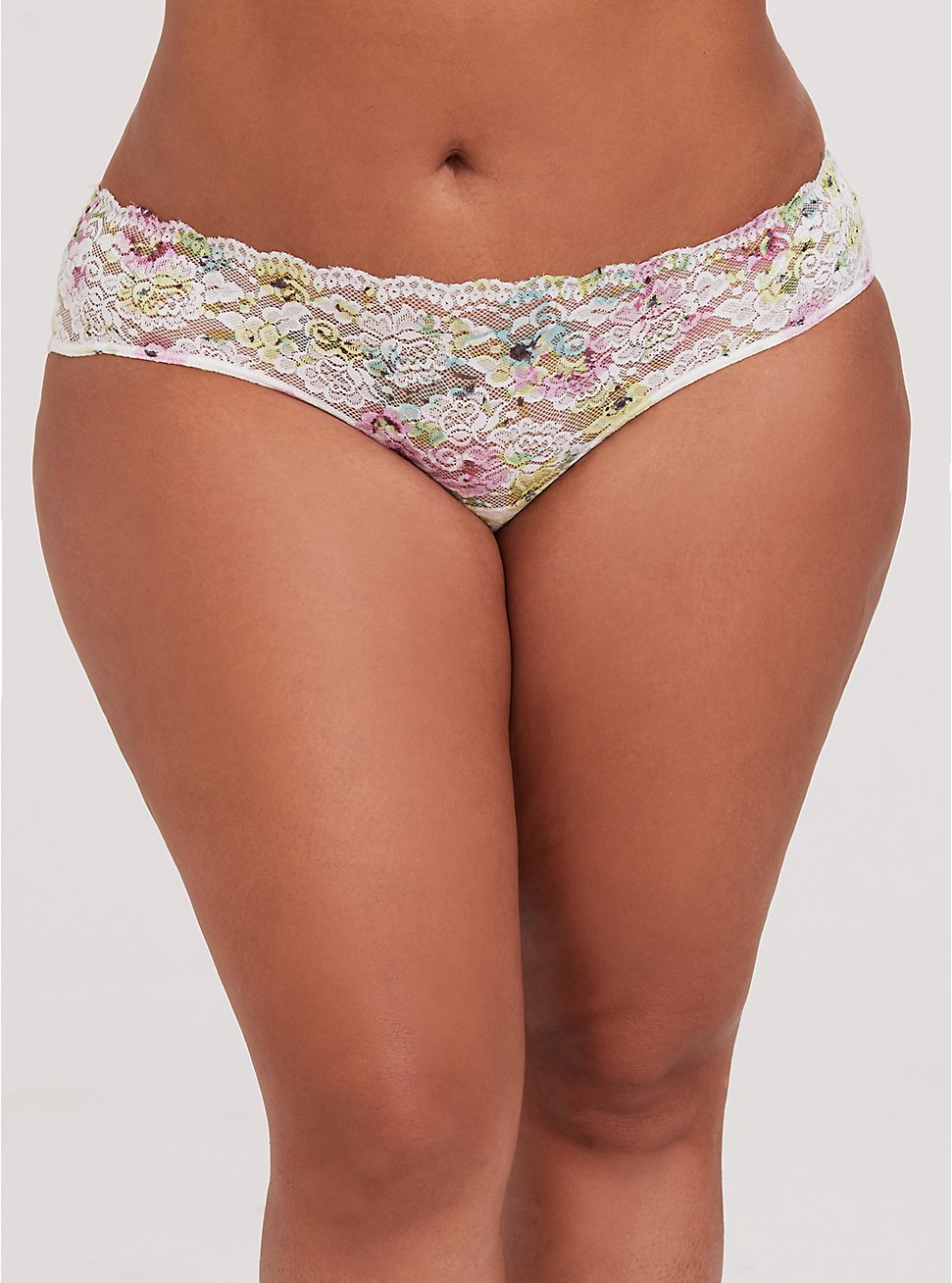 Plus Size White & Multi Floral Lace Caged Hipster Panty, SUMMER IT UP FLORAL, hi-res
