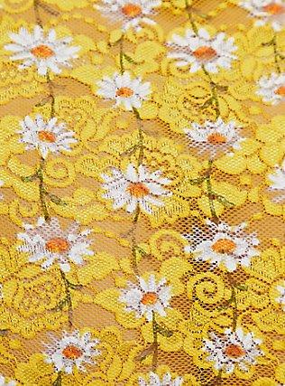 Plus Size Yellow Daisy Lace High Waist Panty, , alternate
