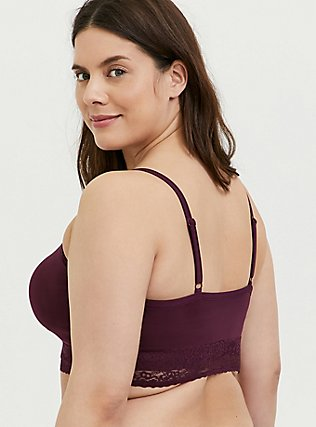 Plus Size Burgundy Purple Seamless Lightly Padded Bralette, , alternate