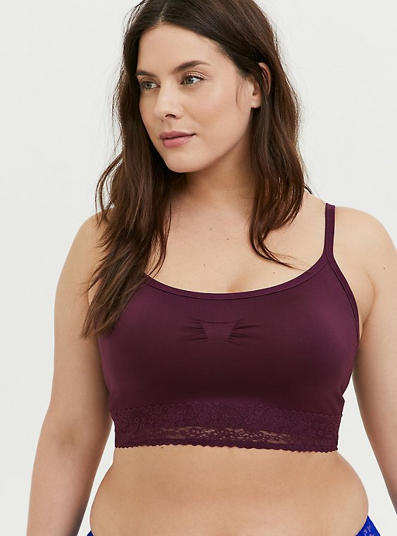 Plus Size Burgundy Purple Seamless Lightly Padded Bralette, , hi-res
