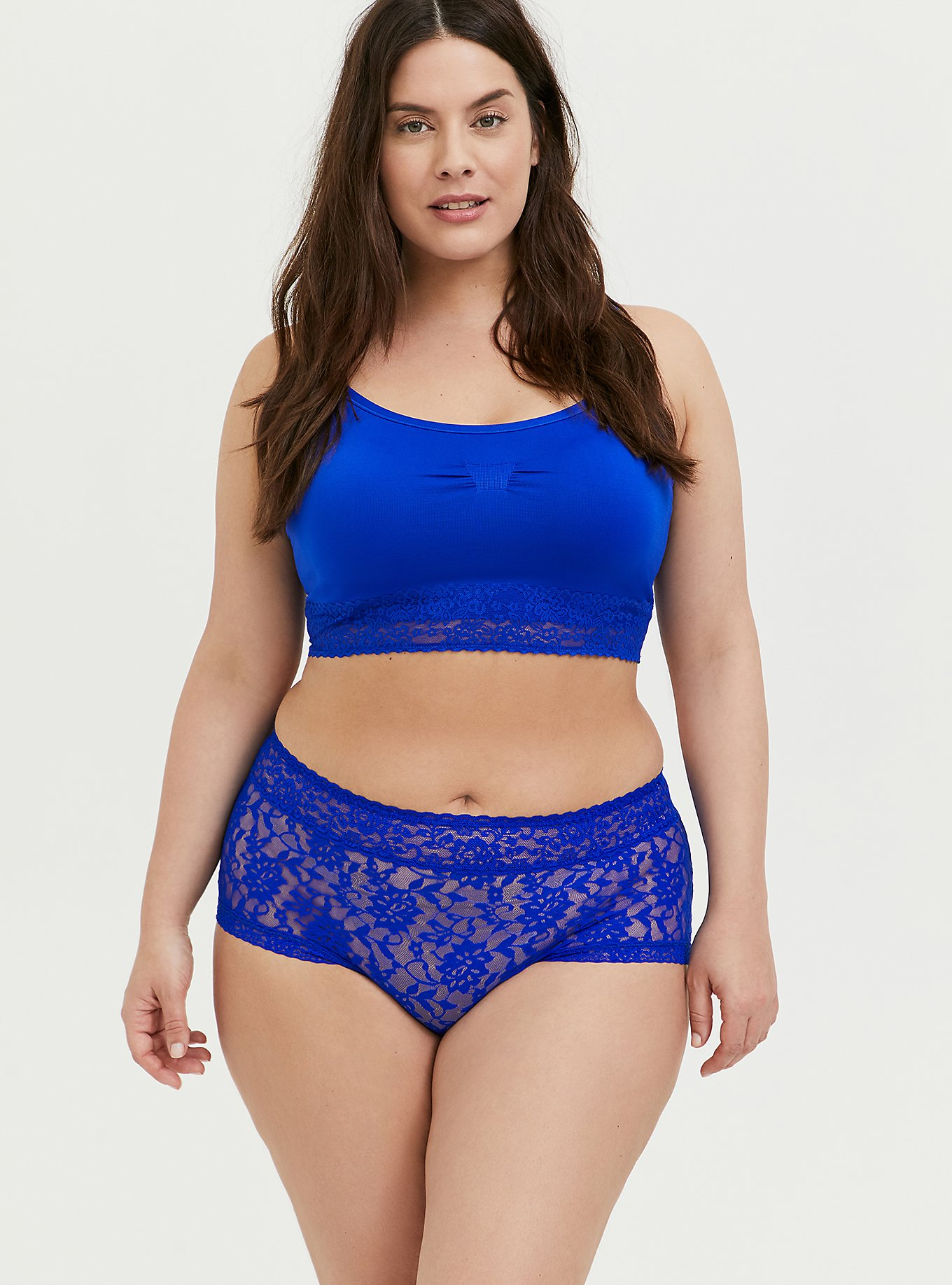 Plus Size Seamless Lightly Padded Bralette and Brief Panty, , hi-res