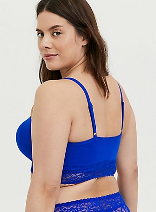 Plus Size Electric Blue Seamless Lightly Padded Bralette, , alternate