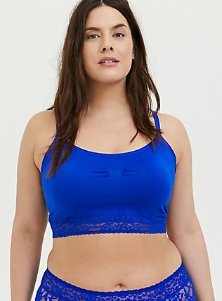 Plus Size Electric Blue Seamless Lightly Padded Bralette, , hi-res